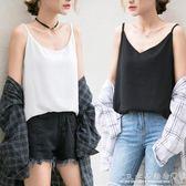 吊帶背心女夏季寬鬆短款內搭外穿韓版港味t恤打底雪紡衫無袖上衣 『CR水晶鞋坊』