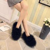秋冬新款女鞋加絨女毛毛鞋厚底淺口單鞋平底鞋休閒鞋潮   琉璃美衣