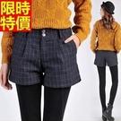 西裝短褲甜美必備-格子拼皮舒適休閒女褲子2色66ai12【巴黎精品】