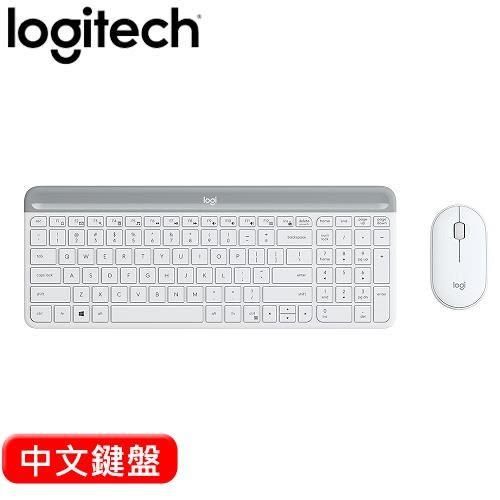 Logitech 羅技 MK470 超薄無線鍵鼠組 珍珠白【獨家送line滑鼠墊(不挑款)】