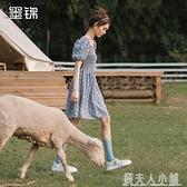 裙子女夏新款法式氣質娃娃領設計感洋裝復古顯瘦淺色碎花裙 秋季新品