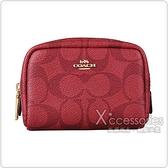 COACH MINI BOXY金字LOGO精緻PVC印花拉鍊化妝包 (紅)