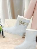 店長推薦 雨鞋女秋冬韓國時尚中短筒套鞋防滑水靴甜美膠鞋帶毛加絨保暖雨靴
