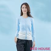 RED HOUSE-蕾赫斯-蕾絲珠珠撞色針織外套(淺藍色)