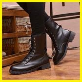 中筒馬丁靴英倫風軍靴女生短靴平底棉鞋機車皮靴子