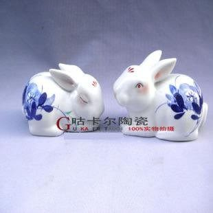 景德鎮 陶瓷器 青花瓷生肖情侶兔子