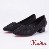 kadia.璀璨排列水鑽尖頭粗跟鞋(9053-95黑色)