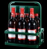 酒架 啤酒塑料提籃便攜式提藍可折疊酒架KTV6瓶裝提子手提框紅酒筐杯架【快速出貨好康八折】