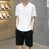 夏季新款套裝亞麻短袖T恤冰絲休閒運動寬鬆棉麻兩件套 QQ955『優童屋』