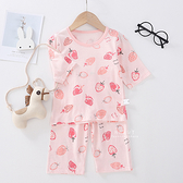居家透氣七分袖睡衣套裝 小草莓 童裝 T-shirt