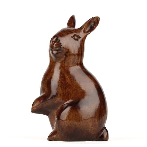 [超豐國際]紅木工藝品 東陽木雕刻兔子工藝品風水擺件 實木質1入