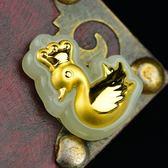 金鑲玉項鍊 和闐玉吊墜-可愛天鵝生日七夕情人節禮物男女飾品73gf118【時尚巴黎】