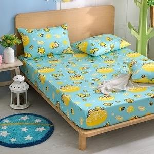 【BREAD TREE麵包樹】精梳棉雙人床包+枕套三件組(檸檬派對)檸檬派對(藍綠)