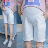 孕婦褲夏裝棉麻五分褲大碼顯瘦短褲夏季孕婦托腹5分打底褲 深藏blue