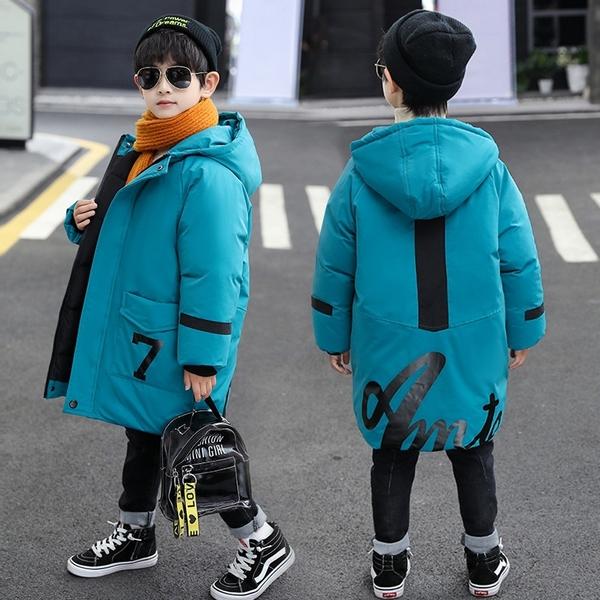 中大童韓版外套 兒童棉服加絨加厚潮流夾克外套 羽絨外套男孩男童外套 中長款秋冬男寶寶棉衣