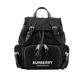 【BURBERRY】The Rucksack 標誌印花尼龍小型軍旅背包(黑色) 8021258 A1189