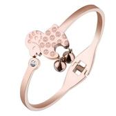 玫瑰金 鑲鑽純銀手環-銅錢小羊鈴鐺可愛生日情人節禮物女飾品71ap14【巴黎精品】