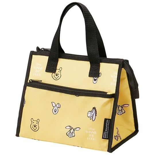小禮堂 迪士尼 小熊維尼 方形尼龍保冷便當袋 餐袋 手提野餐袋 (黃黑 大臉滿版) 4973307-49594