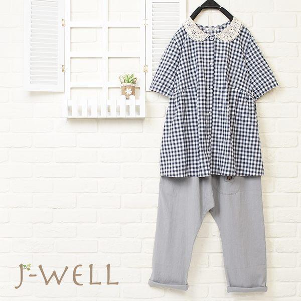 J-WELL 格子娃娃裝上衣褲子兩件組(組合701 8J1409藍+8J1404灰)