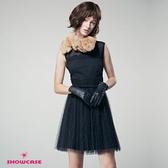 【SHOWCASE】名媛金蔥點點網紗拼接無袖短洋裝(黑)