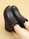 媽媽棉鞋冬季短靴中年保暖平底皮鞋雪地靴軟底防滑舒適女棉靴 夏季新品