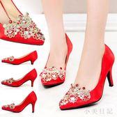 水鉆尖頭細跟紅色高跟婚鞋刺繡水晶綢緞新娘鞋閃亮中跟女單 qf6248【小美日記】