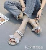 涼鞋女夏新款韓版蝴蝶結兩穿沙灘涼拖平底森女風復古學生女鞋 瑪奇哈朵