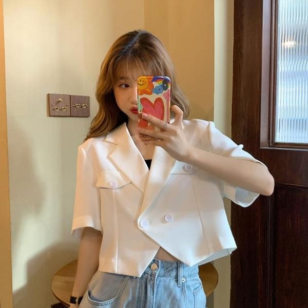 夏季2020新款韓版設計感小眾寬松短款西服上衣薄款短袖西裝外套女