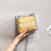 夏天小清新包包女2020新款韓版透明果凍小方包時尚錬條側背斜背包