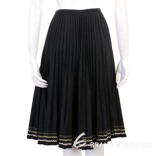 BLANCS MANTEAUX 深灰黑色百褶及膝裙 0510515-01