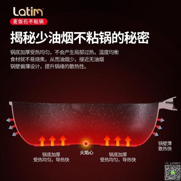炒鍋 不粘鍋炒鍋麥飯石平底炒菜鍋家用燃氣電磁爐適用少油煙煎炒鍋T
