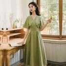 輕熟風洋裝 牛油果綠連身裙女夏V領收腰顯瘦設計感裙子輕熟風氣質-Ballet朵朵