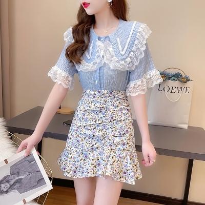 短袖套裝~7350#設計感小眾洋氣甜美娃娃領蕾絲拼接上衣魚尾碎花裙套裝H311-E胖妞衣櫥