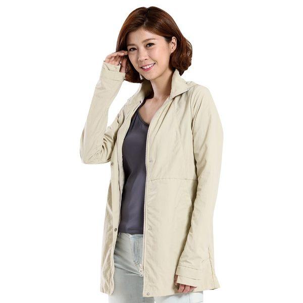 UV100 防曬 抗UV-涼感修身立領長版連帽外套-女