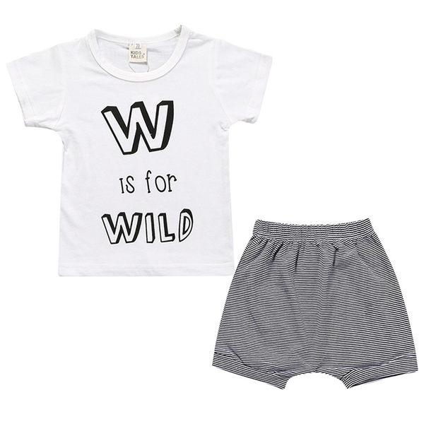 嬰兒短袖套裝 黑白字母 短袖上衣 + 條紋短褲 嬰兒童裝 SK8234 好娃娃