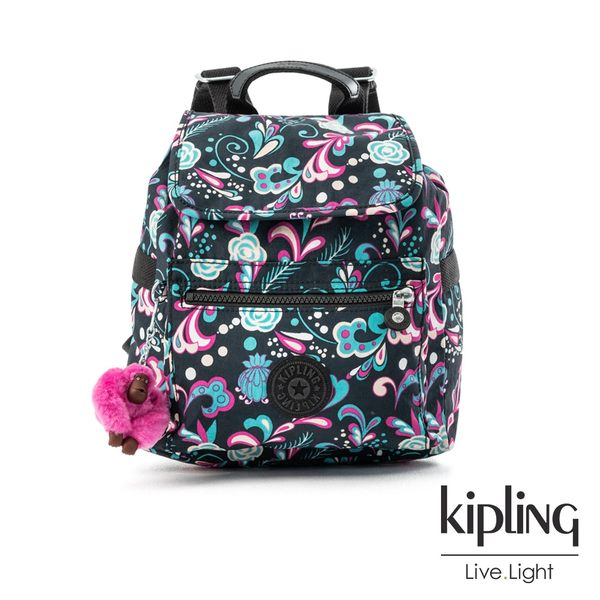 Kipling 繽紛奇想叢林圖騰翻蓋束口後背包-NEW ELLA