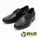 W&M  大尺碼商務正裝綁帶透氣男皮鞋-黑