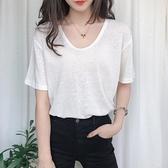 年夏季新款短袖女T恤V領寬鬆大碼薄款亞麻棉麻上衣早秋裝體恤