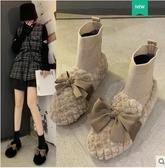 襪靴 雪地靴女短靴2020新款襪靴子秋冬季外穿百搭棉鞋羊羔毛毛女鞋 韓國時尚週