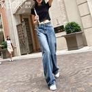 直筒褲 闊腿牛仔褲女寬松2020夏秋新款加長薄款高腰垂感顯瘦直筒拖地長褲