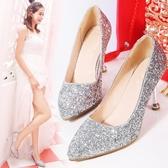 水晶鞋婚鞋女銀色高跟鞋細跟婚紗鞋紅色新娘鞋白色伴娘鞋  伊衫風尚