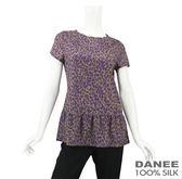 【岱妮蠶絲】滿天心荷花裙擺造型蠶絲上衣(紫色)