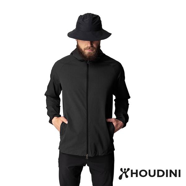 【瑞典 Houdini】Daybreak Jacket 休閒防風連帽外套 男款 純黑 #249864