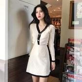 針織洋裝女春秋2020新款小個子長袖修身顯瘦氣質小香風兩件套裝-米蘭街頭