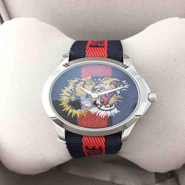 GUCCI 古馳 虎頭刺繡YA126495腕錶經典綠紅綠限量表款38mm