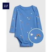 Gap女嬰兒 柔軟長袖圓領包屁衣 497506-摩爾藍色
