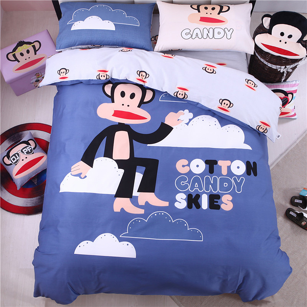 paul frank 正版 有鐳標 卡通床包 標準雙人 雲端漫步 床包組 精梳棉 5尺 大嘴猴 PF 紅色 佛你企業