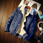 棉衣外套冬季加絨牛仔外套男士韓版修身羊羔毛牛仔棉衣棉服加厚男裝夾克潮多莉絲旗艦店