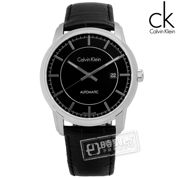 CK / K5S341C1 / Infinite卓越自信質感機械皮革腕錶 黑色 42mm