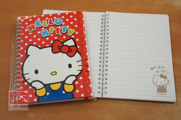 Hello Kitty 線圈 橫線 束帶 筆記本 點點